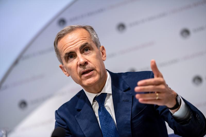 LONDON, ENGLAND - AUGUST 01: Mark Carney, governor of the Bank of England (BOE), speaks at the bank's quarterly inflation report news conference in the City of London on Augst 1, 2019 in London, England. . The BOE downgraded its growth forecast for this year and next, and warned that a recession is still possible even in the event of a smooth Brexit. (Photo by Chris J Ratcliffe/Getty Images)