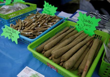 Various-sized joints for sale are pictured at the annual 4/20 marijuana event at Sunset Beach in Vancouver, British Columbia, Canada April 20, 2017. REUTERS/Jason Redmond
