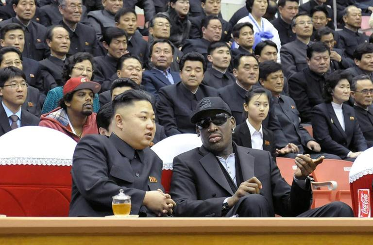 "Former basketball star Dennis Rodman says he calls North Korea's Kim Jong-Un ""kid"" all the time and has described him as ""awesome"""