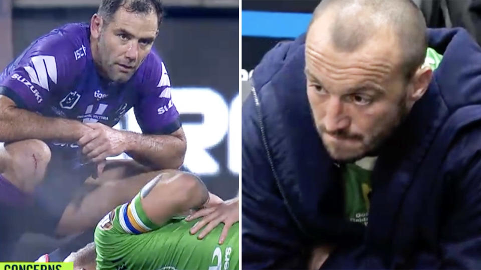 Cameron Smith, pictured here checking on Josh Hodgson after he was injured.