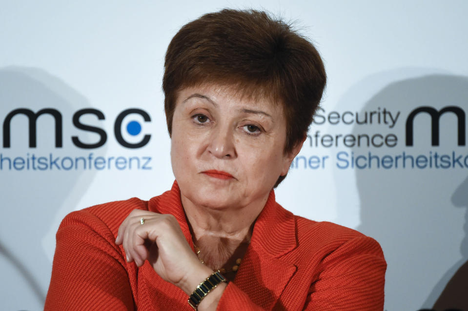 FILE - In this Feb. 14, 2020, file photo, Kristalina Georgieva, Managing Director of the International Monetary Fund, attends a session on the first day of the Munich Security Conference in Munich, Germany. Georgieva said Thursday, Nov. 19, that the while the United States and other major economies turned in better-than-expected economic performances in the third quarter the world now faces slower momentum with a resurgence in coronavirus cases. (AP Photo/Jens Meyer, File)