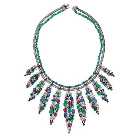 Cartier Bengalore necklace in white gold with sapphire beads, ruby beads, emerald beads, carved emeralds, carved sapphires, carved rubies and diamonds