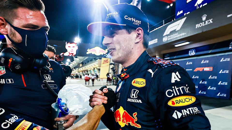 Red Bull's Max Verstappen (pictured) shaking hands after clinching pole position at the Bahrain GP.