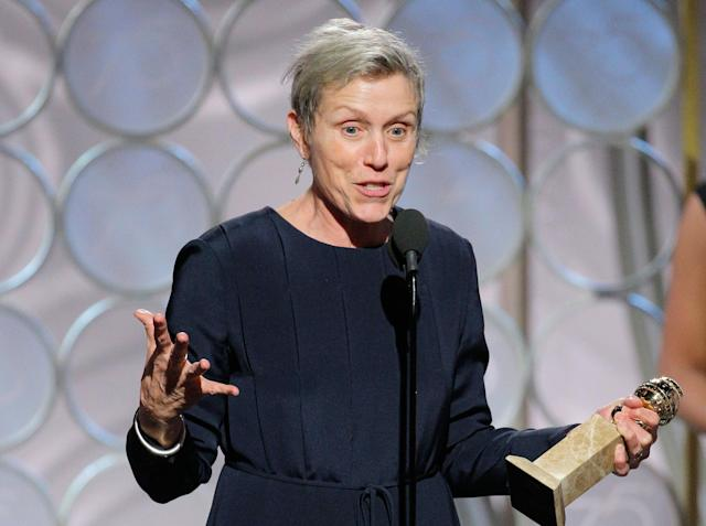 """Frances McDormand accepting the award for best actress in a motion picture drama for her role in """"Three Billboards Outside Ebbing, Missouri,"""" at the 75th Annual Golden Globe Awards in Beverly Hills, Calif., on Sunday, Jan. 7, 2018. NBC censored McDormand's speech but missed the actual swearword. (Paul Drinkwater/NBC via AP)"""