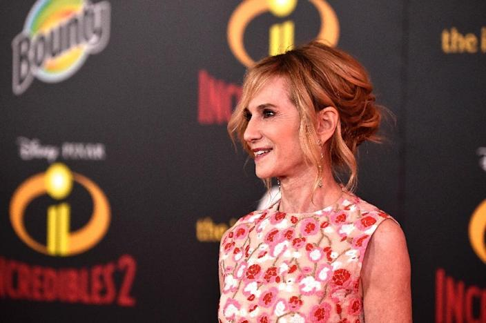 """Incredibles 2"" star Holly Hunter's character Helen/Elastigirl is the focus of the Disney/Pixar film, which is on course to shatter the record for the debut of an animated film (AFP Photo/Frazer Harrison)"