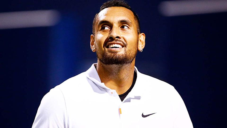 Nick Kyrgios (pictured) smiling during a match at the National Bank Open.