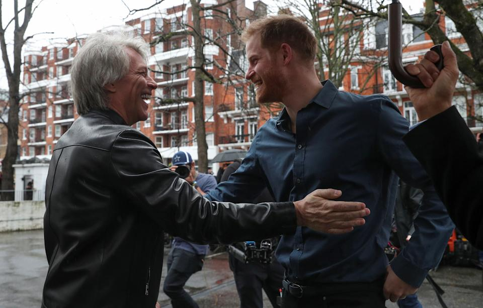 The Duke of Sussex meets Jon Bon Jovi and members of the Invictus Games Choir during his visit Abbey Road Studios in London.
