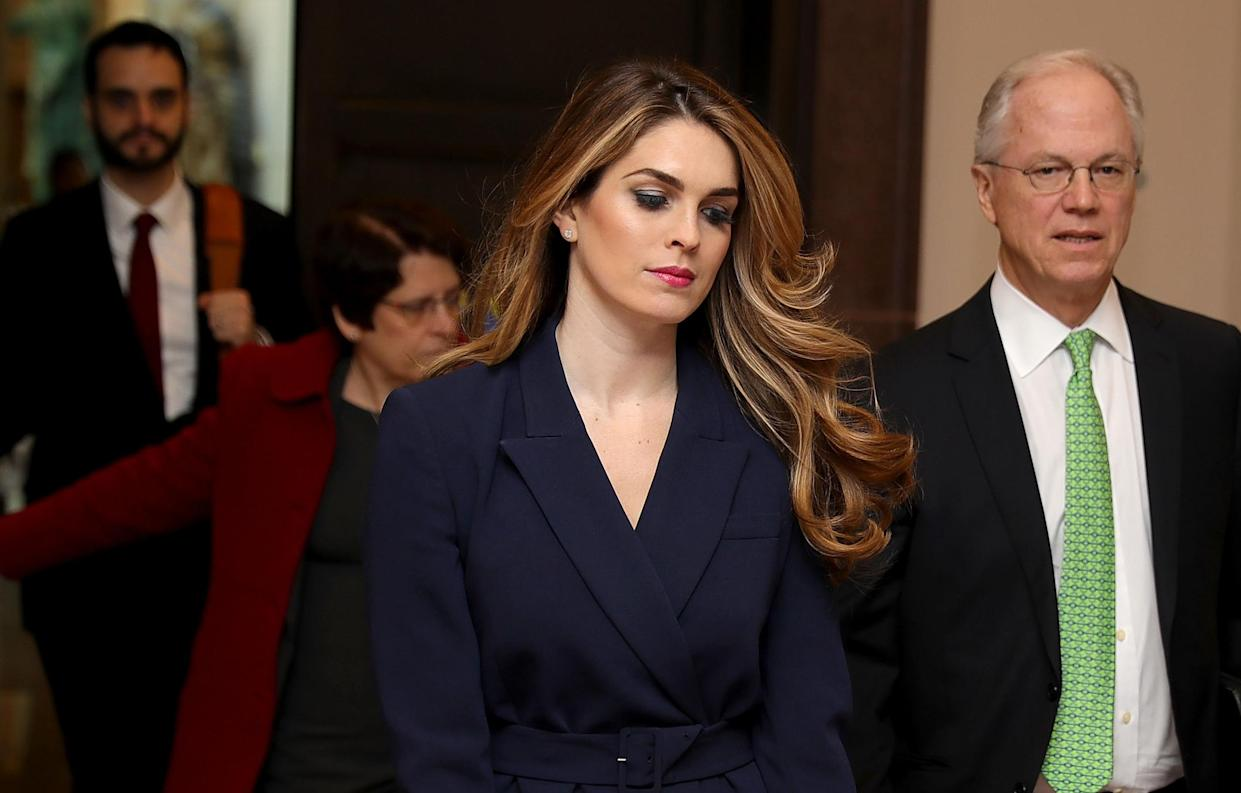 White House Communications Director and presidential advisor Hope Hicks (C) arrives at the U.S. Capitol Visitors Center February 27, 2018 in Washington, DC. (Photo: Chip Somodevilla/Getty Images)