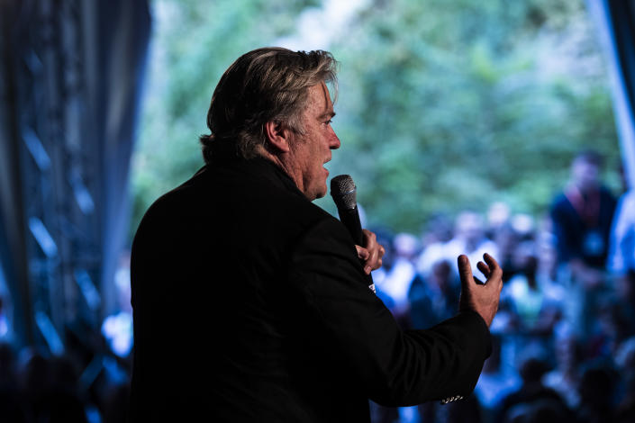 Bannon speaks at Atreju 2018, a conference of right-wing activists, in Rome, last September. (Photo: Jabin Botsford/Washington Post via Getty Images)