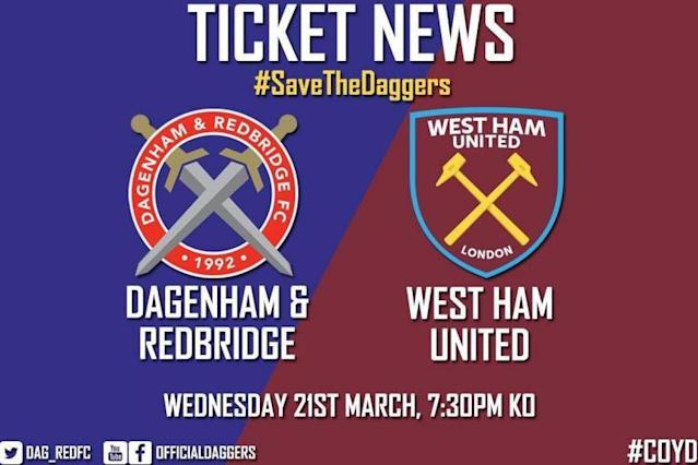 Dagenham & Redbridge hope West Ham friendly will raise £40,000 to help save club