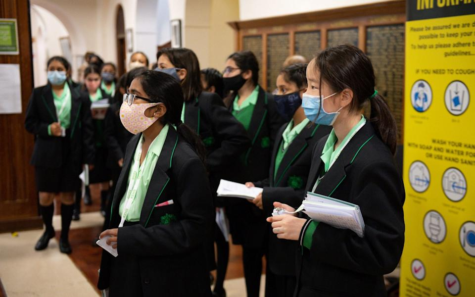 Pupils at the King Edward VI High School for Girls in Birmingham, as schools across England reopen to students following the coronavirus lockdown - Jacob King/PA Wire