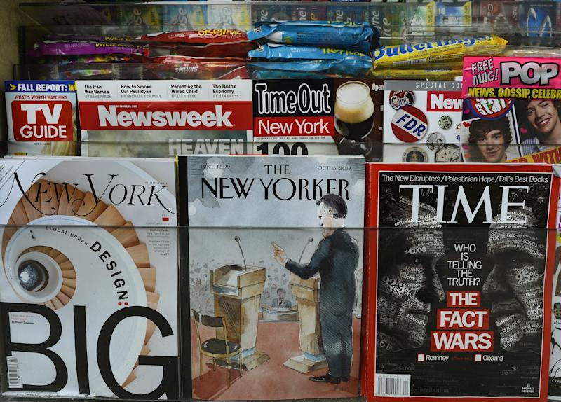 The New Yorker magazine's October 15 edition is diplayed in an Upper East Side newstand in New York on October 9, 2012