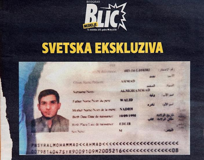 A photo taken in Belgrade on November 15, 2015 shows the front page of Serbian magazine Blic, displaying a Syrian passport issued to asylum seeker Ahmad alMohammad and found by police at the scene of one of the Paris attacks (AFP Photo/Andrej Isakovic)