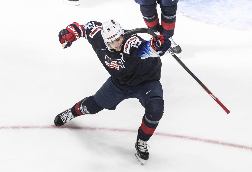 United States' Alex Turcotte celebrates his goal against Sweden during the second period of an IIHF World Junior Hockey Championship game Thursday, Dec. 31, 2020, in Edmonton, Alberta. (Jason Franson/The Canadian Press via AP)