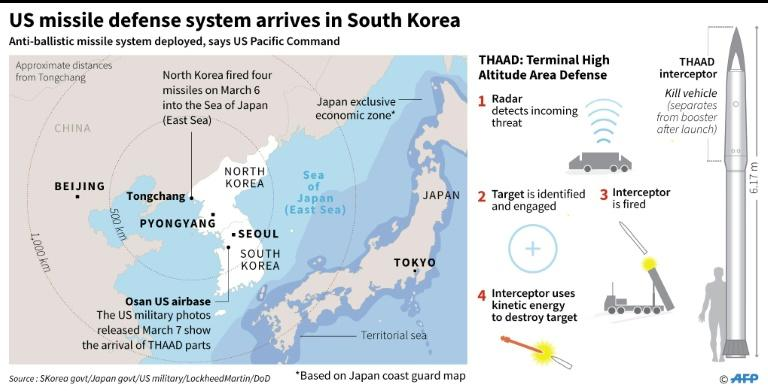 Map locating the Osan airbase in South Korea where US has started deploying the Terminal High Altitude Area Defense (THAAD) system