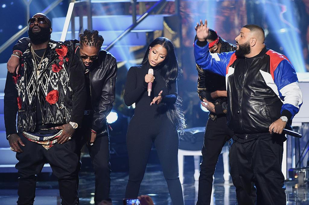 (L-R) Rick Ross, Future, Nicki Minaj, August Alsina and DJ Khaled perform onstage during the 2016 American Music Awards at Microsoft Theater on November 20, 2016 in Los Angeles, California. (Photo by Kevin Winter/Getty Images)
