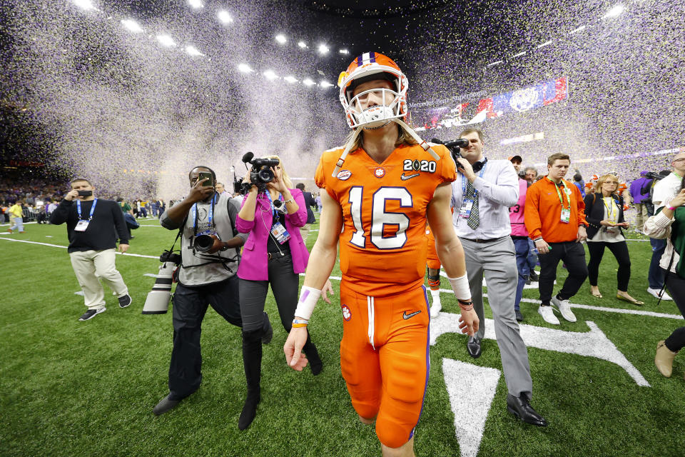 NEW ORLEANS, LOUISIANA - JANUARY 13: Trevor Lawrence #16 of the Clemson Tigers reacts after being defeated 42-25 by LSU Tigers in the College Football Playoff National Championship game at Mercedes Benz Superdome on January 13, 2020 in New Orleans, Louisiana. (Photo by Kevin C. Cox/Getty Images)