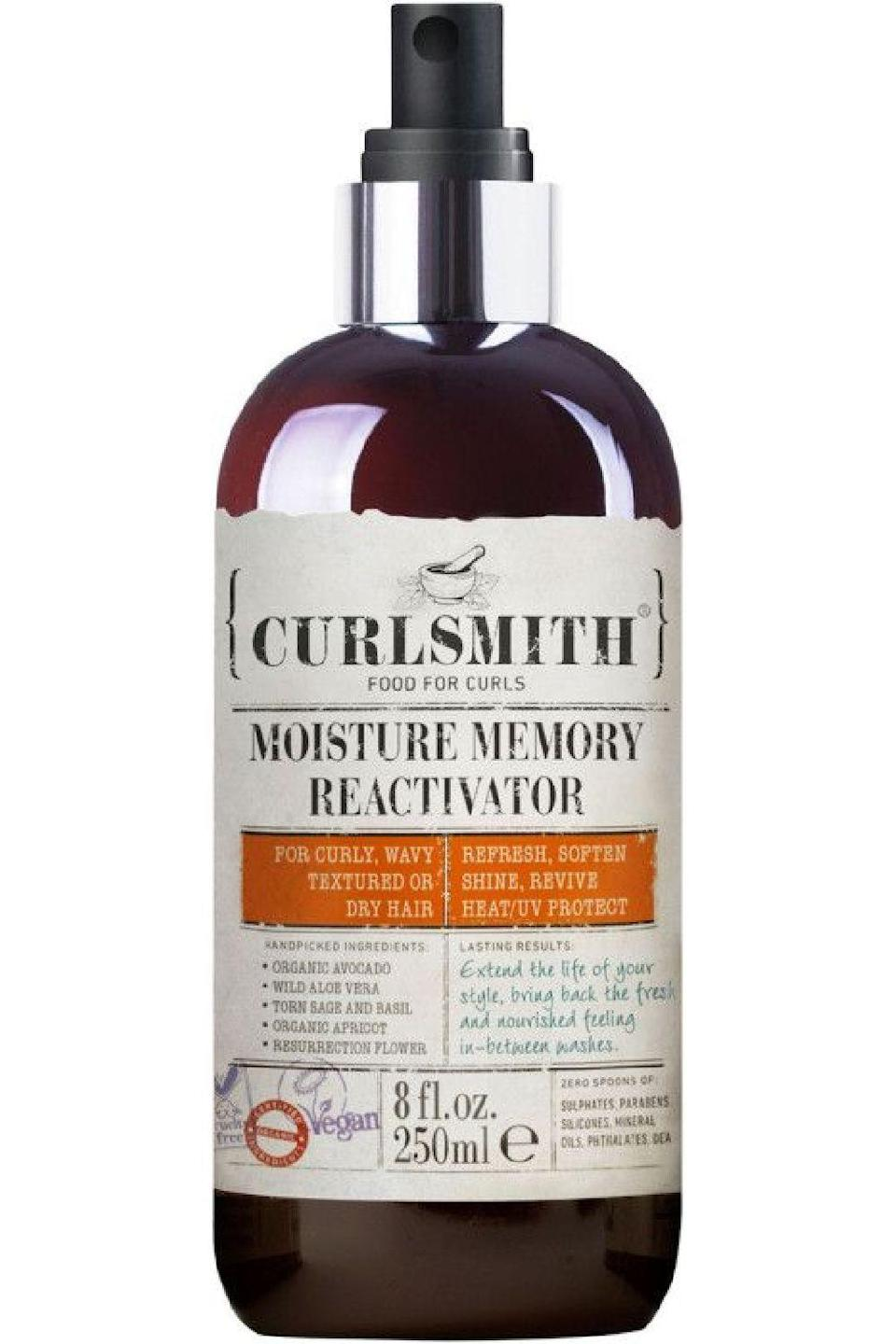 "<p><strong>CURLSMITH</strong></p><p>ulta.com</p><p><strong>$24.00</strong></p><p><a href=""https://go.redirectingat.com?id=74968X1596630&url=https%3A%2F%2Fwww.ulta.com%2Fmoisture-memory-reactivator%3FproductId%3DxlsImpprod18851252&sref=https%3A%2F%2Fwww.cosmopolitan.com%2Fstyle-beauty%2Fbeauty%2Fg34357706%2Fbest-hair-moisturizer-sprays%2F"" rel=""nofollow noopener"" target=""_blank"" data-ylk=""slk:Shop Now"" class=""link rapid-noclick-resp"">Shop Now</a></p><p>When you need to give your curls a little TLC in between washes, grab a bottle of this moisture spray, which uses a nice blend of oils, like apricot kernel, <a href=""https://www.cosmopolitan.com/style-beauty/beauty/a33391868/olive-oil-for-hair/"" rel=""nofollow noopener"" target=""_blank"" data-ylk=""slk:olive"" class=""link rapid-noclick-resp"">olive</a>, coconut, and avocado, as well as aloe vera <strong>to add all the hydration, bounce, and elasticity</strong> back into your strands.</p>"