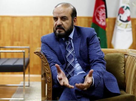 Gula Jan Abdul Badi Sayad chairman of Independent Elections Commission (IEC) of Afghanistan speaks during an interview in Kabul