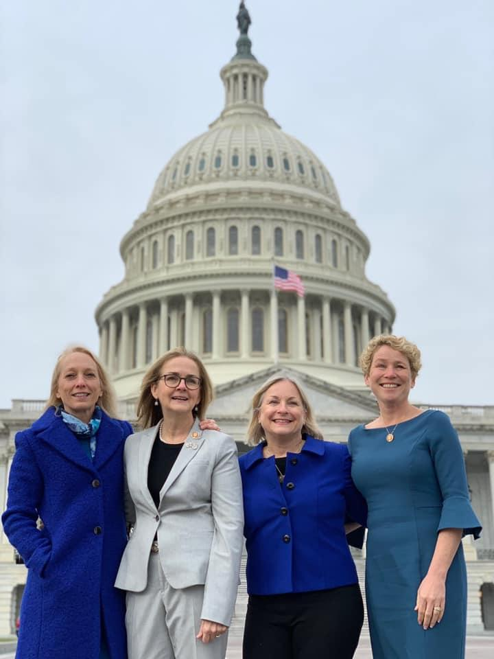 """These four women from Pennsylvania were elected to Congress in 2018 during the Pink Wave. This marks the first time the state has had four women in the state delegation. They call themselves the """"Fab Four."""" From left to right, they are Mary Gay Scanlon, a civil rights lawyer from the Philadelphia area; Madeleine Dean, a former state representative; Susan Wild, a former city solicitor in Allentown; Chrissy Houlahan, a retired chemistry teacher and military veteran."""