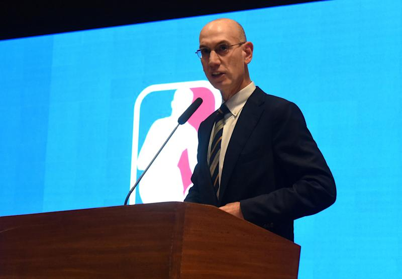 NBA Commissioner Adam Silver speaks during the announcement of the The NBA-backed Basketball Africa League (BAL) at the Museum of Black Civilisations in Dakar, on July 30 2019. - The NBA-backed Basketball Africa League (BAL) unveiled host cities Tuesday for its inaugural season, with Kigali, Rwanda, as the named host city for the first semi-final and championship games. Cairo, Egypt; Dakar, Senegal; Lagos, Nigeria; Luanda, Angola; Rabat, Morocco and a Tunisian city, Tunis or Monastir, were announced as the sites for BAL regular-season games. The BAL, featuring 12 club teams from across Africa, is set to begin play in March 2020. (Photo by Seyllou / AFP) (Photo credit should read SEYLLOU/AFP/Getty Images)
