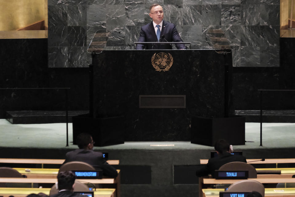 Polish President Andrzej Duda speaks during the annual gathering for the 76th session of the United Nations General Assembly (UNGA) Tuesday, Sept. 21, 2021. (Spencer Platt/Pool Photo via AP)