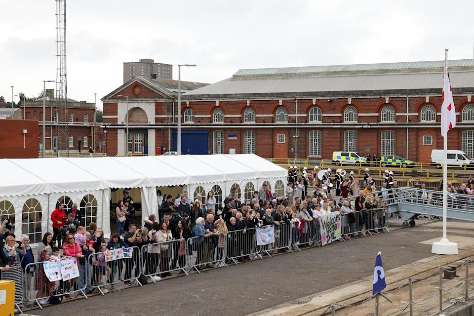 Families eagerly awaited the return of HMS Brocklesby (Royal Navy/PA)