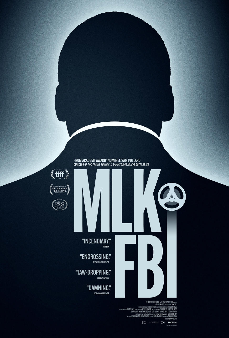 "This image released by IFC Films shows poster art for ""MLK/FBI,"" a documentary that shows how FBI director J. Edgar Hoover used the full force of his federal law enforcement agency to attack King and his progressive, nonviolent cause. That included wiretaps, blackmail and informers, trying to find dirt on King. (IFC Films via AP)"