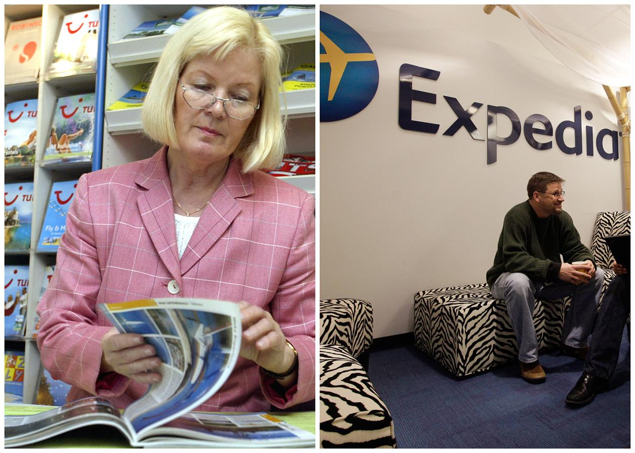 This combination of Associated Press file photos shows, left, travel agent, Gabriele Herlitschka leafing through an Asia and Australia travel catalogue in her travel agency office in 2002, in Duesseldorf, Germany, and right, Expedia worker Mike Brown  in an alcove set up for employees in 2013, in Bellevue, Wash.  The number travel agents fell 46 percent from 142,000 to 76,000 in ten years through 2010.
