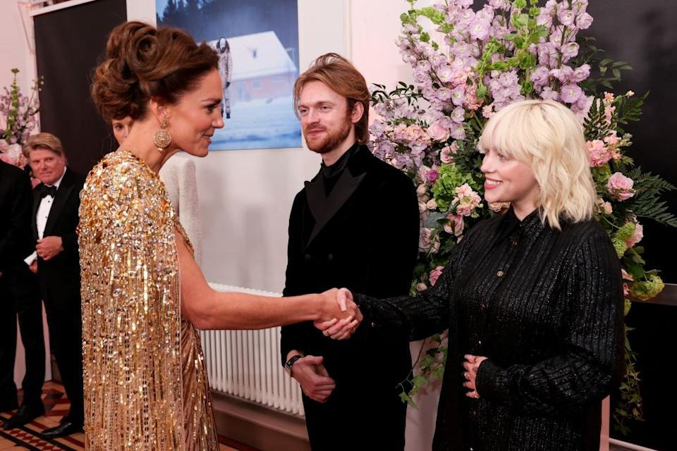Billie Eilish and brother Finneas with Kate Middleton