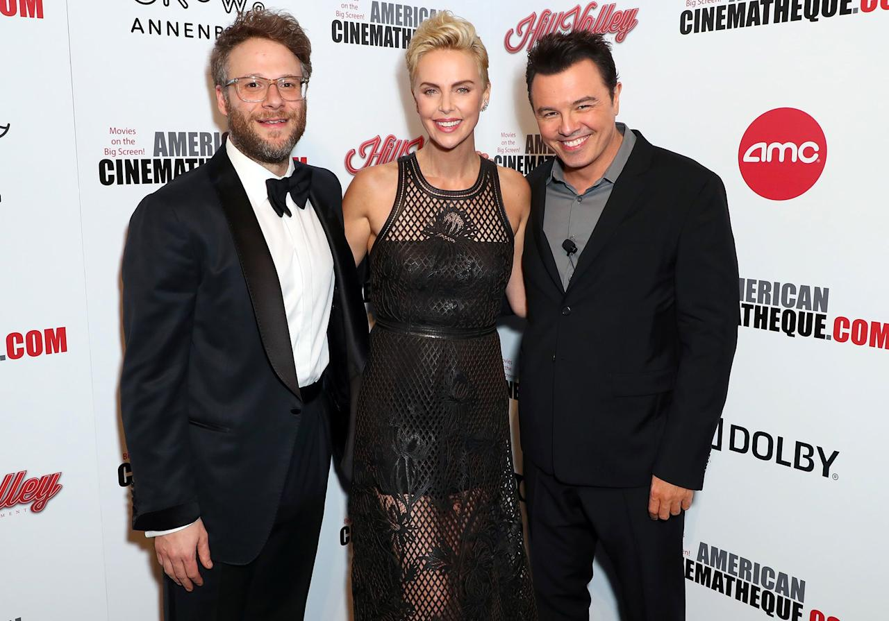 Charlize Theron is roasted by her former costars Seth Rogen and Seth MacFarlane at the 33rd American Cinematheque Award Presentation Honoring Charlize Theron in Beverly Hills on Friday night.
