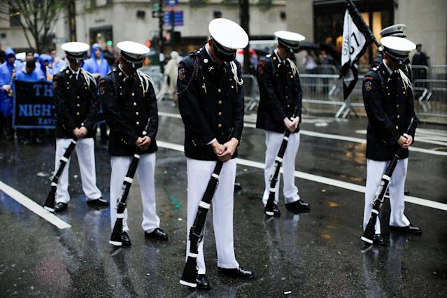 <p>Cadets take part in the 73rd Annual Columbus Day Parade in New York, Oct. 9, 2017. (Photo: Eduardo Munoz/Reuters) </p>