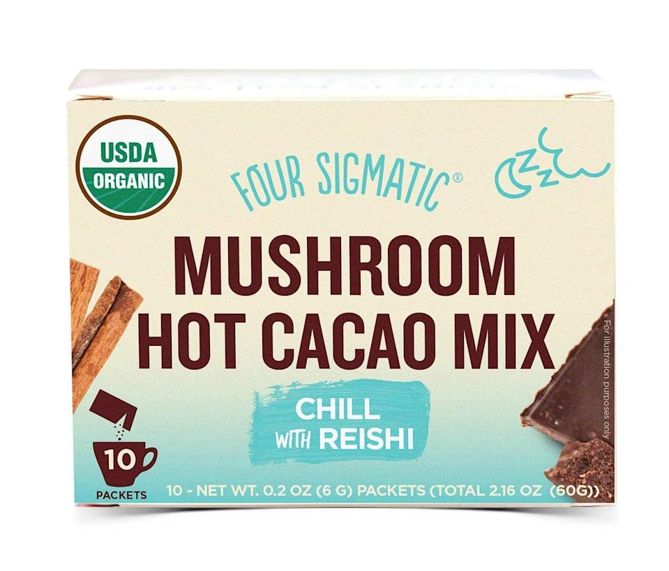 <p>I've got a pretty major sweet tooth, and I like to finish the day with something sweet. But if I eat too much sugar, I get a stomachache, and that's not exactly relaxing. So recently, I've switched over to drinking this <span>Four Sigmatic Mushroom Hot Cacao With Reishi</span> ($18). It satisfies my sweet tooth while preparing me for bed.</p>