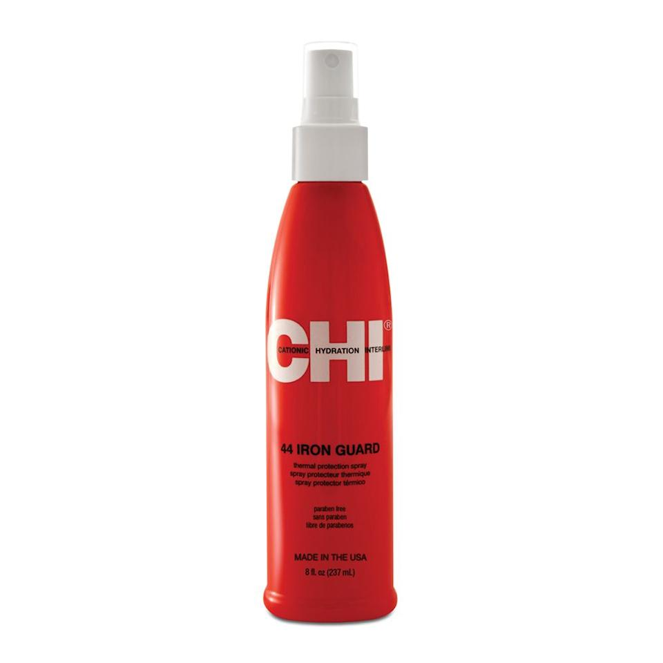 """<p><strong>CHI</strong></p><p>amazon.com</p><p><strong>$15.06</strong></p><p><a href=""""http://www.amazon.com/dp/B002RS6JSA/?tag=syn-yahoo-20&ascsubtag=%5Bartid%7C2089.g.379%5Bsrc%7Cyahoo-us"""" target=""""_blank"""">Shop Now</a></p><p>This thermal-treatment spray designed by CHI will keep your hair protected against every straightening and curling session. Spritz here and there from root to tip for significantly stronger strands that defy heat damage.<br></p><p><strong>More:</strong> <a href=""""https://www.bestproducts.com/beauty/g150/leave-in-conditioners-hydrating-hair/"""" target=""""_blank"""">Leave-In Conditioners Your Hair Will Thank You For</a></p>"""