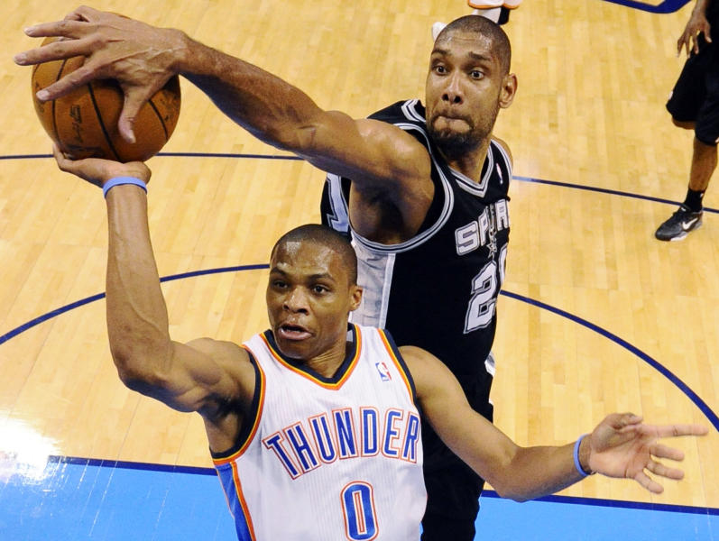San Antonio Spurs center Tim Duncan (21) blocks a shot by Oklahoma City Thunder point guard Russell Westbrook (0) during the first half of Game 3 in their NBA basketball Western Conference finals playoff series, Thursday, May 31, 2012, in Oklahoma City. (AP Photo/Ronald Martinez, Pool)