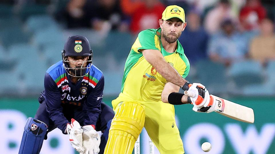 Pictured here, Glenn Maxwell gets ready to launch a customary reverse sweep.