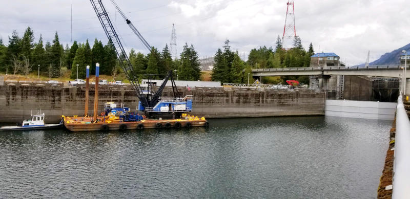 This Sunday, Sept. 8, 2019 photo provided by the U.S. Army Corps of Engineers shows a boat lock on the Bonneville Dam on the Columbia River that connects Oregon and Washington at Cascade Locks., Ore. A critical lock has shut down for repairs, meaning barges that shuttle millions of tons of wheat, wood and other inland goods to the Pacific Ocean for transport to Asia can't move. An official said Monday, Sept. 9, 2019 that a crack in the Bonneville Dam lock's concrete sill was discovered late last week. It's not clear when repairs will be complete. (Megan Innes/U.S. Army Corps of Engineers via AP)