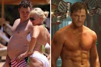 <p>In order to play Star Lord in 'Guardians of the Galaxy', Chris Pratt had to trade 60lbs of fat for pure muscle. His incredible transformation came through strict diet change, intense exercise, and some hardcore dedication.<br></p>