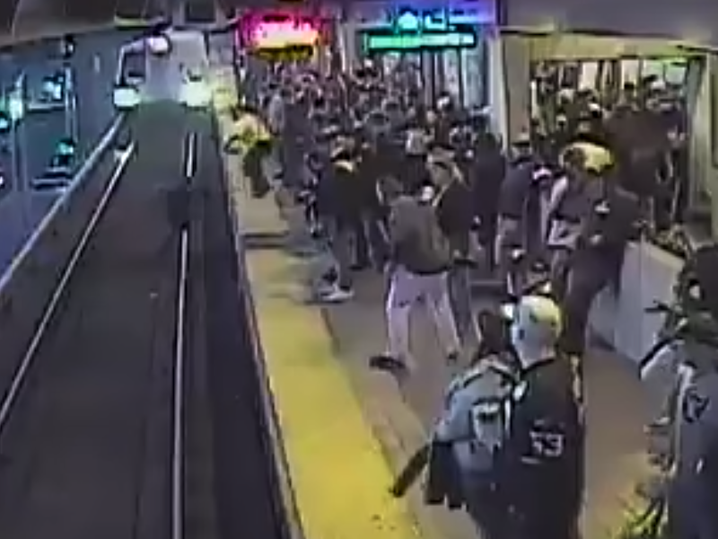 Man reportedly misstepped before being saved as train approached: Screenshot