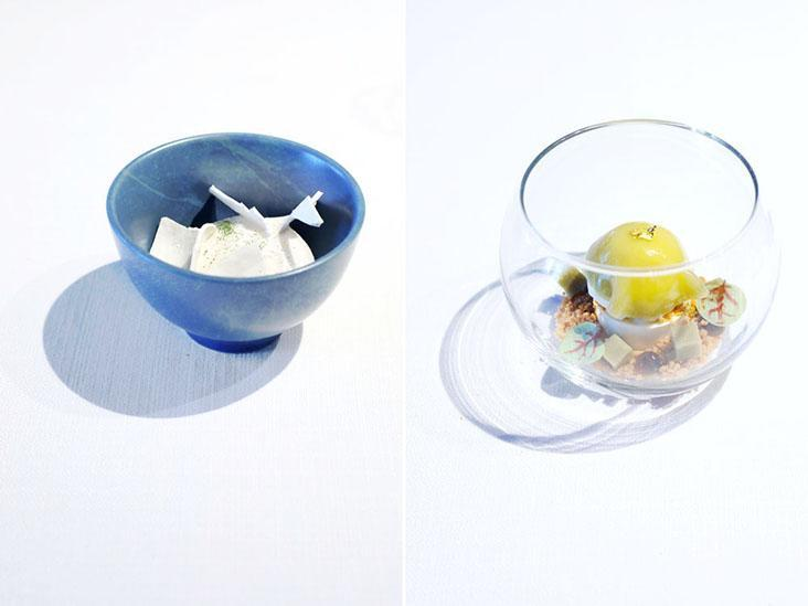 Delicate dessert pairings include calamansi sorbet with 'aiyu' jelly and taro 'crémeux' with dark brown sugar sago.