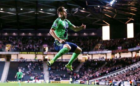 Football - Milton Keynes Dons v Southampton - Capital One Cup Third Round - Stadium MK - 23/9/15 Jay Rodriguez celebrates scoring the first goal for Southampton. Action Images / Alex Morton/ Livepic/ Files