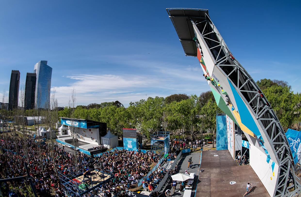 Oct 10, 2018; Buenos Aires, Argentina; The crowd gather to watch on as Petar Ivanov (BUL) competes in the Sport Climbing Mens Combined Lead Final at Parque Mujeres Argentinas, Urban Park during The Youth Olympic Games, Buenos Aires, Argentina. Mandatory Credit: Lukas Schulze for OIS/IOC Handout Photo via USA TODAY Sports