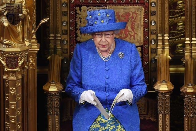The Queen reading her speech at the state opening of parliament in 2017. Carl Court/PA Wire