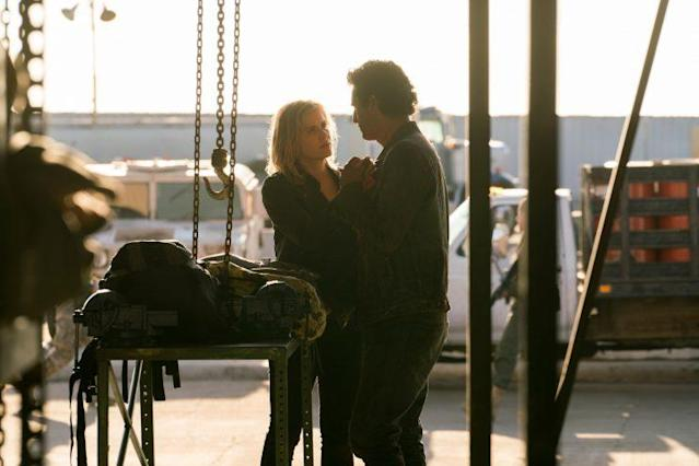 Kim Dickens as Madison Clark and Cliff Curtis as Travis Manawa in AMC's 'Fear the Walking Dead' (Photo Credit: Michael Desmond/AMC)