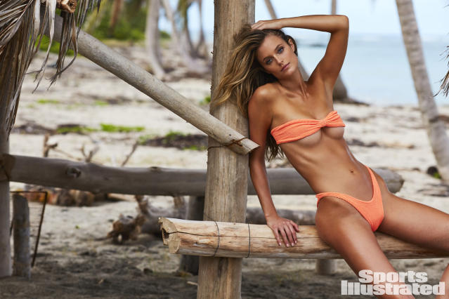 "<p>Kate Bock was photographed by Josie Clough in Nevis. Swimsuit by <a href=""http://www.itsnowcool.com/"" rel=""nofollow noopener"" target=""_blank"" data-ylk=""slk:Hunza G"" class=""link rapid-noclick-resp"">Hunza G</a>.</p>"