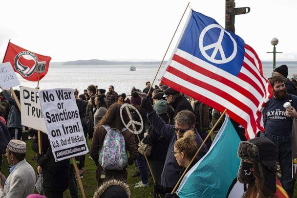 PHOTO: Anti-war demonstrators rally on Jan. 4, 2020, in Seattle. Demonstrators rallied across the U.S. Saturday in response to increased tensions in the Middle East as a result of a U.S. airstrike that killed an Iranian general last week. (David Ryder/Getty Images)