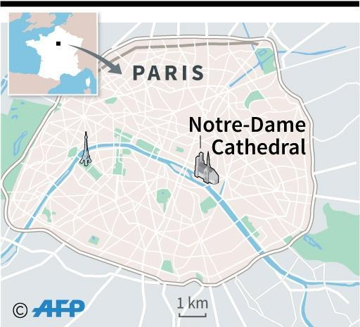 Map locating Notre-Dame cathedral in Paris (AFP Photo/)