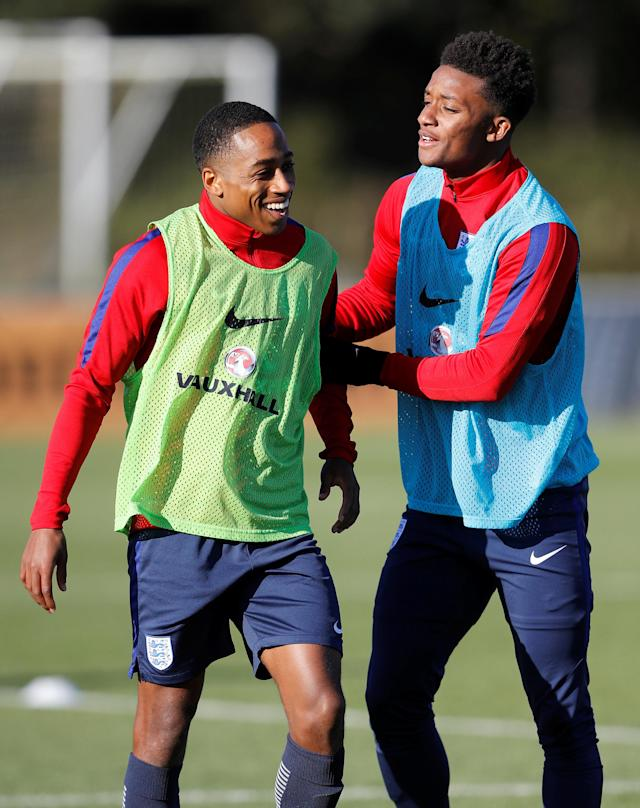 Soccer Football - England Under 21 Training - St. George's Park, Burton upon Trent, Britain - November 8, 2017 England's Demarai Gray and Kyle Walker-Peters during training Action Images via Reuters/Carl Recine