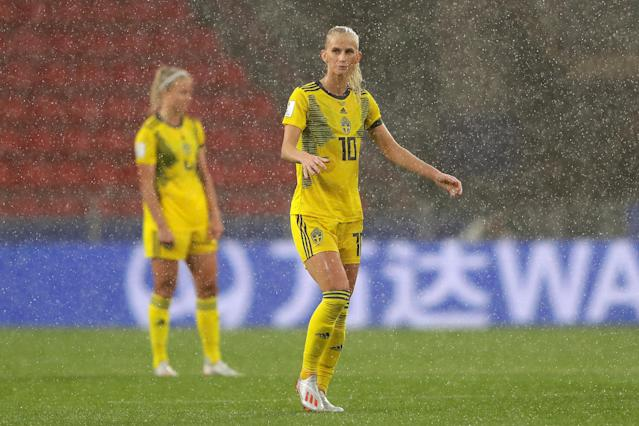 Sofia Jakobsson of Sweden looks on in the rain during the 2019 FIFA Women's World Cup France group F match between Chile and Sweden at Roazhon Park on June 11, 2019 in Rennes, France. (Photo by Richard Heathcote/Getty Images)