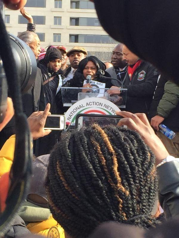 Samaria Rice, mother of Tamir Rice, speaks to people gathered in Freedom Plaza on Dec. 13, 2014.